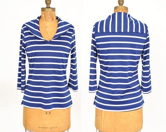 1960s blue and white sailor top / striped shirt / 60s top .. small