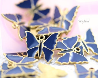 Navy Vintage Style Butterflies Charms Pendants - 4
