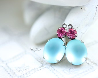 Silver Antique Brass Settings Vintage Glass Drops Oval 19x10mm Set Stones Rose Pink & Frosted Aquamarine - 2