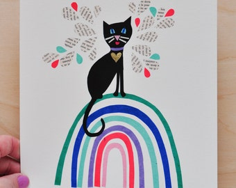 Curious Catniss - Black Kitty - Rainbow Collection - 8x10 Fine Art Print by Megan Jewel