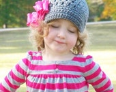 Clearance Gray Newsboy Beanie with Hot Pink Ruffle Bow Clip Girls 4-6 years