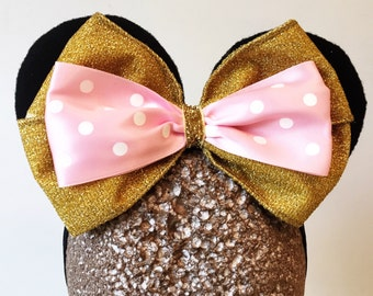 On SALE Baby Minnie Ears Girls Pink and Gold Sparkle Stretch Mouse Ears Headband Band Photography Costume Prop