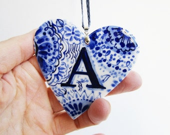 A - Letter - Capital - Monogram - Hand painted personalized porcelain  heart -  Dutch - Blue and white Delftware ornament- personalized