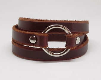 Brown Wrap Leather Bracelet Leather Cuff with Metal O Ring Snap Button Clasp