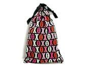 Hugs Kisses Valentine's Day Bag Drawstring Pouch Pink Black Drawstring Bag Kawaii Pouch Small Tote Bag Handmade Gift Bag