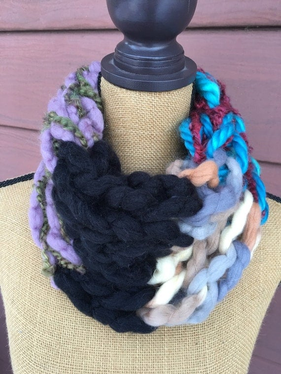 Arm Knitting Cowl : Arm knitted infinity cowl scarf in turquoise blue by