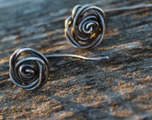 Sterling Silver Earrings, Rose Earrings, Item #400102