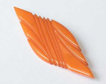 Orange Carved Bakelite Brooch Art Deco Diamond Shape Vintage