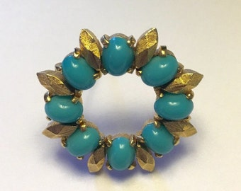 CIJ Sale Designer Simulated Turquoise Circle Pin Gold Tone Accents D'Orlan Vintage