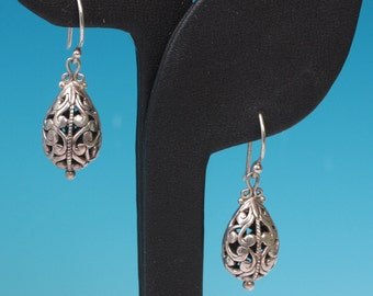 Sterling Filigree Drop Earrings Signed ATIID Vintage Mexico