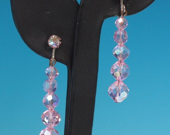 Pink AB Crystal Dangle Earrings Vintage Pageant Prom
