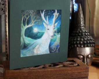 A single greeting card. Titled 'Meeting Damh'.   Illustrations and paintings by Amanda Clark.