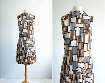 60s Dress / MOD Dress / 60s Flapper Dress / Drop Waist / Geometric Abstract Print /  Vintage Dress / medium to large