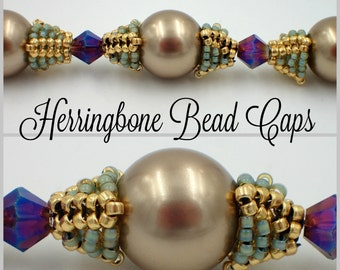 Herringbone Bead Caps PDF Jewelry Making Tutorial (INSTANT DOWNLOAD)