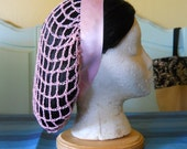 RESERVED FOR JH - 1940s Style Snood Hair Net - Vintage Pale Pink