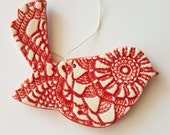 Clay Bird Ornament | MADE TO ORDER | Textured Bird Ornament | Ceramic Bird | Christmas Ornaments | Ornaments | Textured Clay | Bird Art