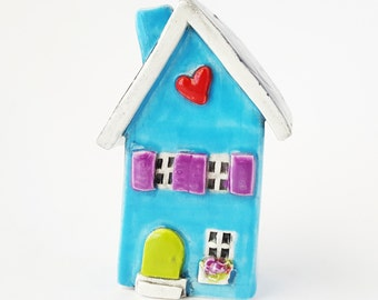 Clay House | Sky Blue House | Little Clay House | Whimsical house | Ceramic House | Blue House | Heart Home | Blue Cottage