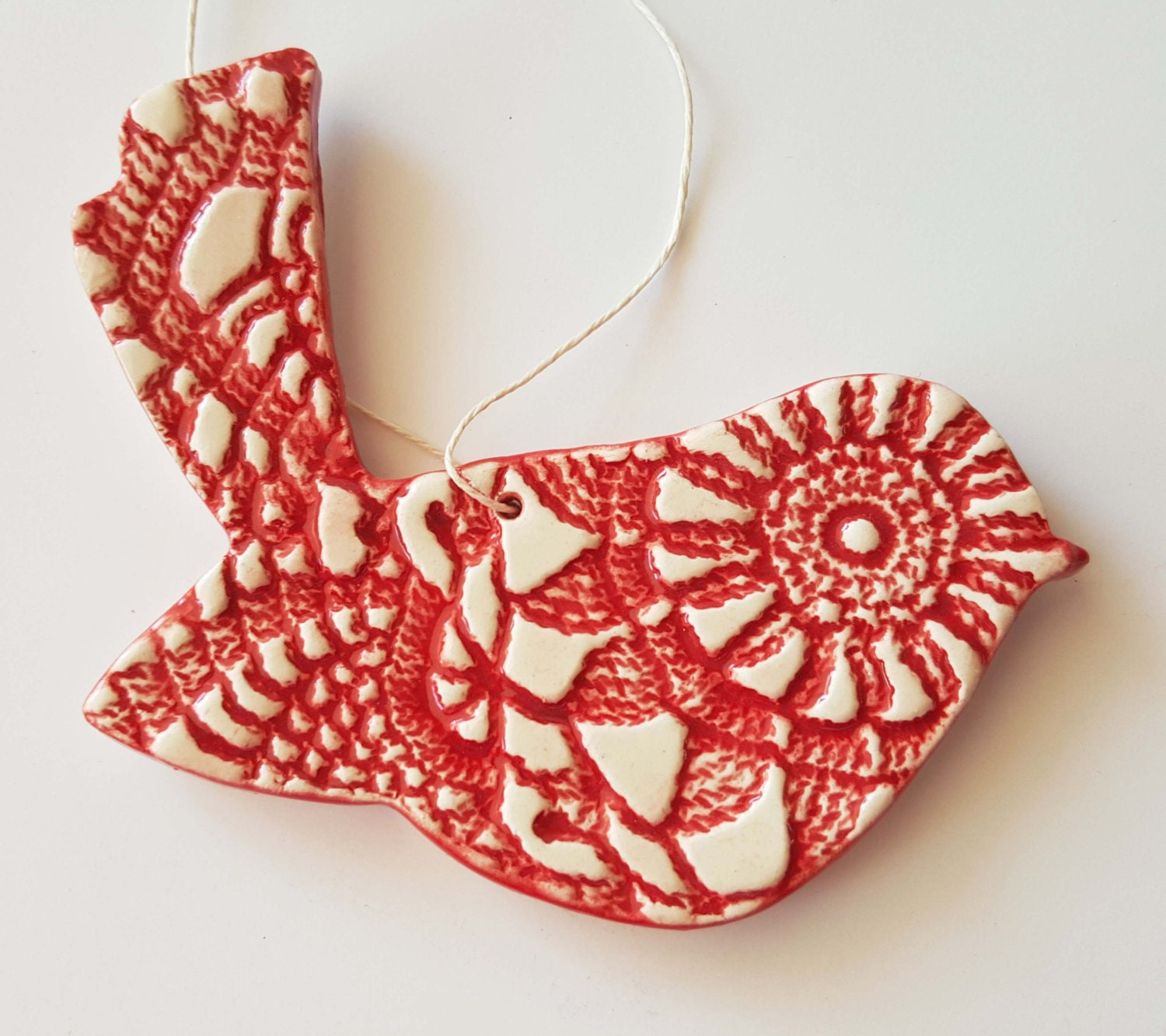 Ceramic snowflake ornaments - Clay Bird Ornament Made To Order Textured Bird Ornament Ceramic Bird Christmas