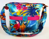Tropical Birds Handmade Fabric Handbag / Cross Body Purse / Case for Glasses