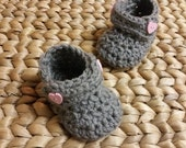 Baby Boots, Crochet Grey and Pink Sweet Heart Valentine handmade  3-6 Months - free shipping included