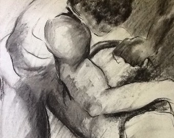 Flexed Muscles - charcoal drawing