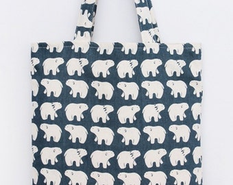 Adorable polar bear tote bag, shopping , magazine