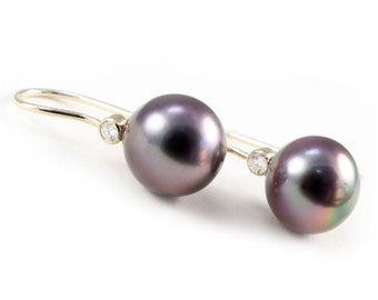 Pearl Earrings, Tahitian Pearl Earrings, Gray Pearls, Charms Earrings with Diamonds, Drop Earrings, Tula Jewelry.