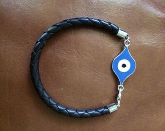 Evil Eye Leather Bracelet - good luck bracelet