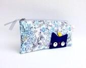 Pencil case, Pencil pouch, Handmade zipper bag, Blue - Cat