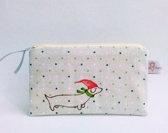 Christmas Gift, Cotton Pouch Dog, Dog Purse, Illustrated Purse, Make up Purse, Cute Cosmetic Pouch, Dog Lover Gift