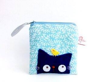 Blue Cat Coin Purse, Cute Coin Purse, Cat Pouch, Coin Purse, Coin Pouch, Cat Purse, Linen Pouch - Cat Lover Gift