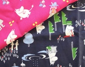 Nordic Finland Cartoon Character Lovely Moomin On Pink/Dark Blue(Choose Color) - Japanese Silk Cotton Clothing Fabric (1/2 Yard)