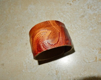 Paisley Embossed Leather Cuff