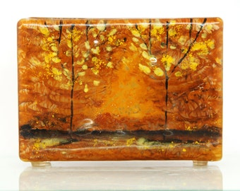 Napkin holder, brigh Fused glass black trees, earth tone landscape , House warming gift, Hostess gift, Interior Design