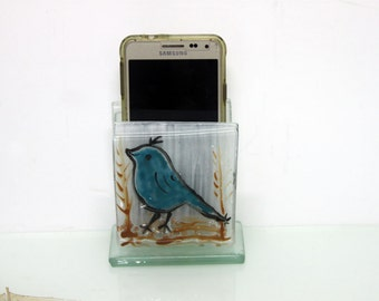 White Cell Phone iPhone Stand,  Fused Glass blue bird decoration