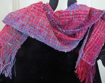 SCARF-Handwoven, Luxurious, Romantic, Rose and Lavender Scarf with Ribbon and Silver