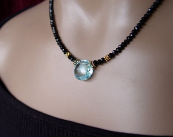 Brilliant Swiss Blue Topaz and Black Garnet Necklace