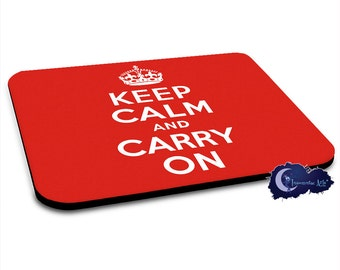 Keep Calm and Carry On - Red British Poster Mousepad