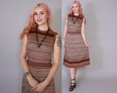Vintage 70s DRESS Set / 1970s Space Dye Stripe Sweater Knit Matching Top & Skirt XS - S