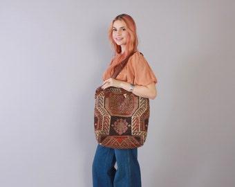 Reserved....Vintage 80s KILIM BAG / 1980s Turkish Wool & Leather Oversized OVERNIGHTER Travel Bag Shoulder Purse