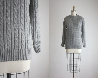 dove grey cable knit sweater