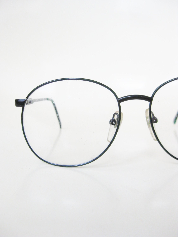 Bending Plastic Frame Glasses : Vintage 1980s Eyeglasses Round P3 Glasses Womens Dark Green
