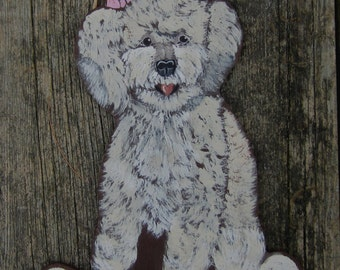 POODLE Custom Wood Sign - Original Hand Painting - Family Name/No soliciting/Remove Shoes