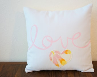 SALE!! Pink, Yellow, Orange, and Cream 'Love' Pillow Cover (14 inch) (original price: 35.00)