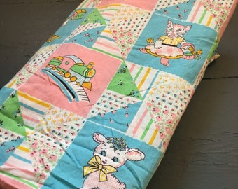 6 Yards Vintage Fabric Baby 70s Patchwork Yardage Sweet Kitty, Duck, Rocking Horse, Lamb Turquoise,  Pink, Yellow, green Cotton