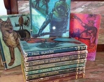 Vintage 60s Childrens Educator Classics Library 11 The Jungle Book, Treasure Island, Arabian Nights