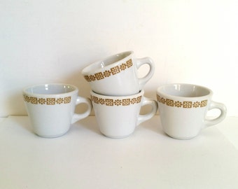 Vintage Retro Diner China Cups . Four Mustard and White Mugs .  Shenango China