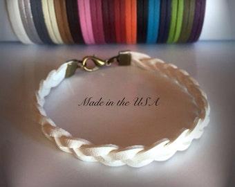 Braided leather bracelet, Braided bracelet, Leather cuff bracelet, Gift for her, Gift for him, Leather jewelry,  friendship gift,