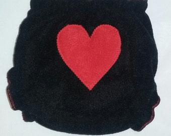 Black heart butt fleece diaper wrap