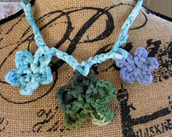 Crochet Necklace, Crocheted Flowers, T-Shirt Yarn Necklace, Braided Necklace, Woven Necklace, Antique Button, Camouflage, Teal, Green, Blue